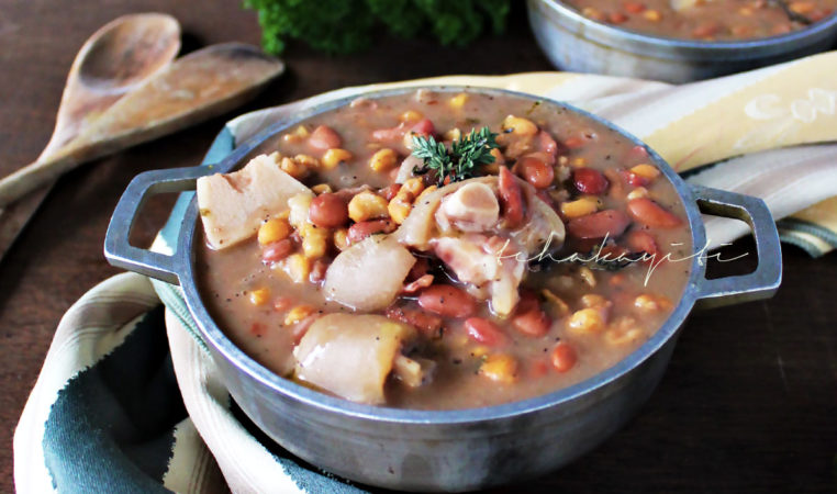 Tchaka is a traditional Haitian red beans and corn casserole enhanced with smoked salt-cured pork meat. | tchakayiti.com