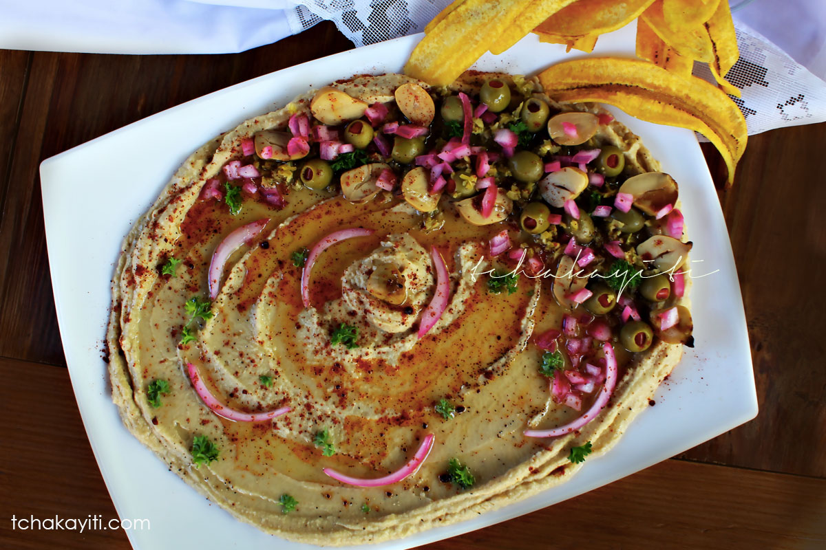 Hummus with a twist. This Caribbean hummus is made with breadnuts in lieu of garbanzo beans. A silky smooth recipe you'll want to try. | tchakayitii.com