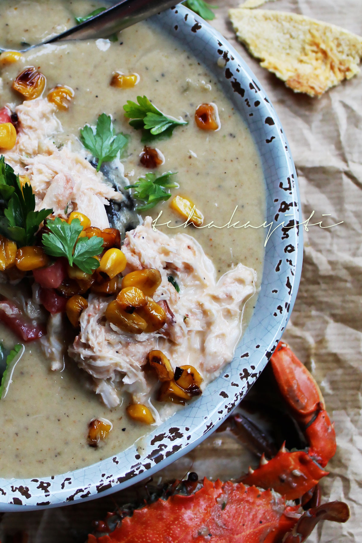 A recipe for a creamy mirliton or chayote soup enhanced with flavors of shrimp and crab. | tchakayiti.com