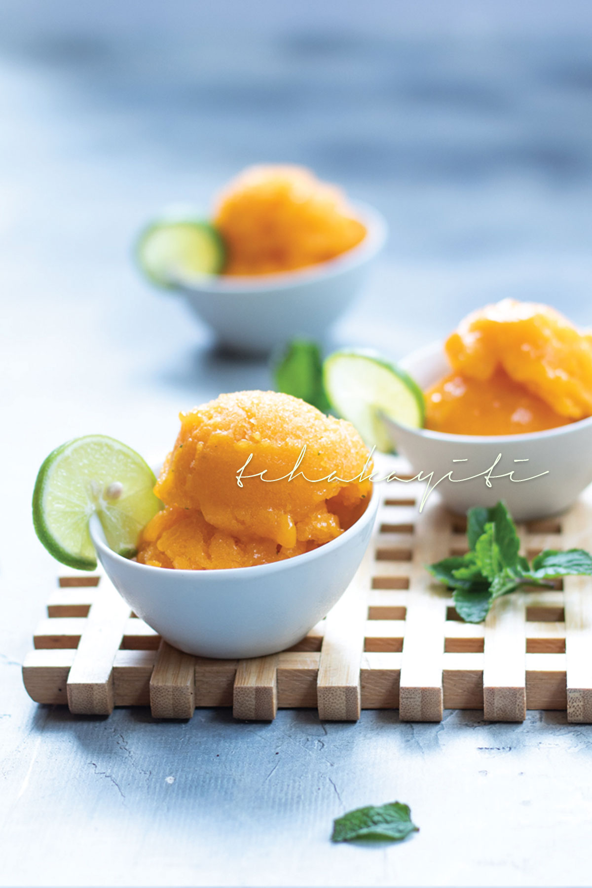 This mango sorbet is easy and simple to make. The perfect treat to cool down on a hot summer day. | tchakayiti.com