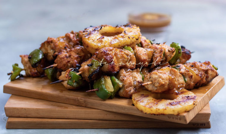 These ginger pineapple chicken kabobs are amazingly easy to make. There's some ginger and habanero pepper added to kick things up a notch. | tchakayiti.com