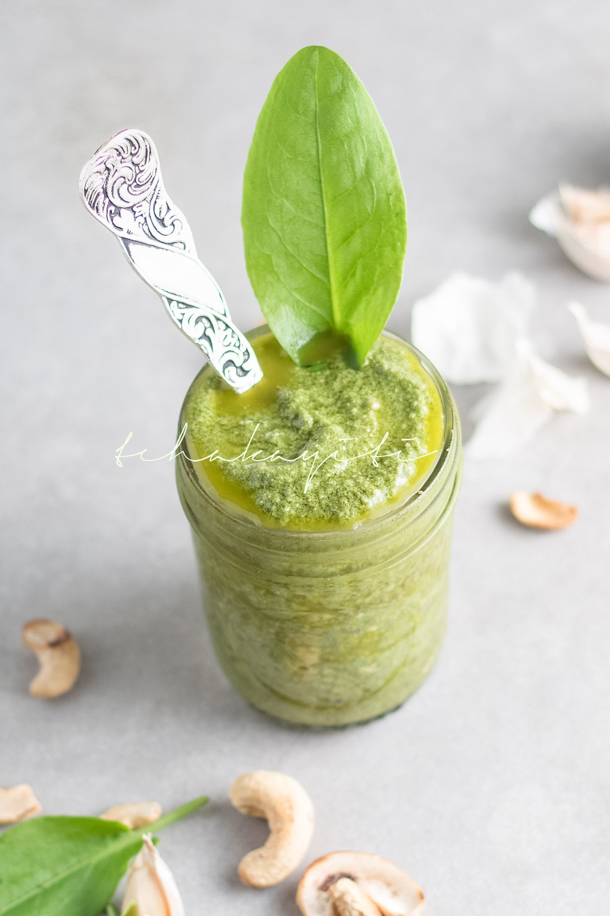 This grilled cashew sorrel pesto is vibrant with a hint of spiciness.   tchakayiti.com