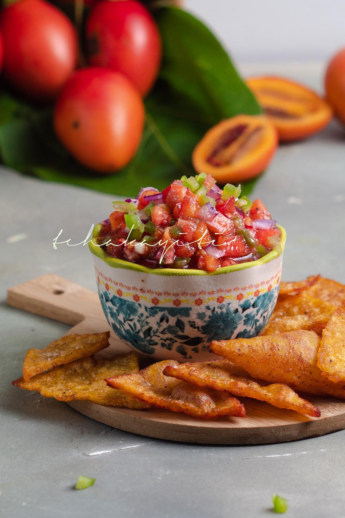 Tamarillos salsa, a mixture of chopped tamarillo, ripe and green tomatoes. | tchakayiti.com